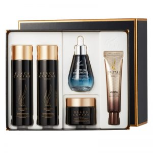 AHC Black Caviar Special Skincare Set (Toner 140ml + Lotion 140ml + Cream 50g + Eye Cream 30ml + Ampoule 50ml)