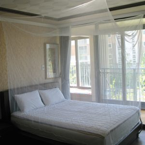 Simple White Bed Square Mosquito Net